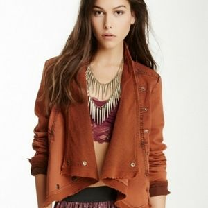 Free People Rust Orange Moto Asymmetrical Jacket